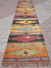 "Anatolian Turkish Antalya Kilim Runner 27,9""X 122"" Area Rug Runner Carpet Wool"