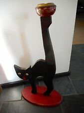 "Vintage Original Halloween Black Cat 26"" Tall Ashtray Stand"
