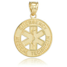 10k Gold Satin Star of Life with Rod of Asclepius EMT Medical Charm Pendant
