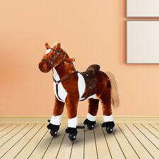 Kids Rocking Toy Ride on Horse Walking Pony Neigh Sound Gift w/ Wheels &Footrest