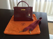 HERMES Burgundy Box Leather Long Strap Gold Hardware 32cm KELLY Handbag