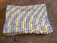 Hand knitted Rico Pom Pom baby blanket pastel colours approx 22 inch x 32 inch