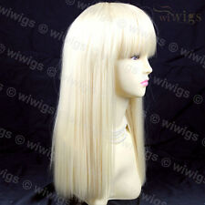 Sexy Pale Blonde Long Ladies Wigs Skin top BANGS skin top hair from WIWIGS