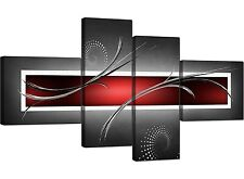 Large Red Black Grey Abstract Canvas Pictures 160cm XL Wall Art 4091