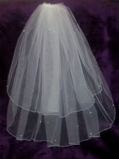 "Brides Ivory elbow length wedding veil with Swarovski crystals 25""/30"" 2 tiers."