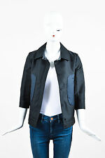 Marni Black Navy Two Tone Colorblock Pocket Snap Button Crop Sleeve Jacket SZ 38