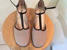 TARYN ROSE SZ 39.5M BROWN SUEDE LEATHER T STRAP HEELS DRESS SHOES ITALY