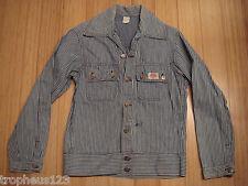 Vtg 40s 50s ROUNDHOUSE Hickory Stripe Denim Chore Work Jacket Barn 40 SUPER Rare