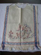 Antikes Baby Lätzchen Jugendstil blaue Bordüre, Stickerei, Fransen,unbenutzt