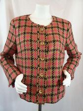Jones New York Collection Womens Designer Pink Tweed Blazer Jacket Coat 16