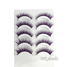 Fancy Purple Colorful Feather Eyelashes False EyeLash Party Cosmetic Soft Long