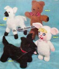 Scottie dog,teddy,lamb & doll  -  toy knitting pattern