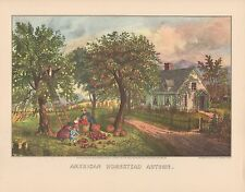 """1952 Vintage Currier & Ives """"AMERICAN HOMESTEAD AUTUMN"""" LOVELY COLOR Lithograph"""