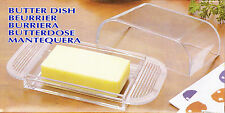 Clear/Transparent Plastic Cheese & Butter Dish (Cover) - Mantequera - Gift Box