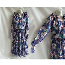 Vintage 70s Dress Size L Blue Pink Floral Hippie Boho henri christian Paris 80s