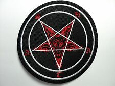 BAPHOMET SATAN  RED AND WHITE  EMBROIDERED PATCH