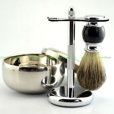 Wet Shaving Kit Luxury Pure Badger Brush + Alloy Stand + Mug Bowl Men Shave Tool