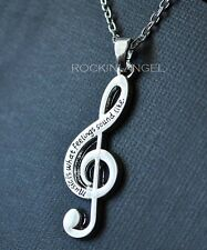 925 Silver Plt 'Music Is What Feelings Sound Like' Necklace Ladies Girls Gift