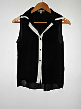SES Black White Sheer Tank Top Collar Button Up Down Flowy Sleeveless Size 8