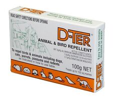 D-TER, DTER ANIMAL & BIRD REPELLANT Repel Dogs, Cats, Possum100GM - FREE POSTAGE