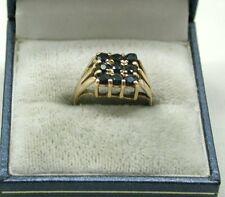 Very Nice 9ct Gold And Nine Stone Blue Topaz Ladies Dress Ring