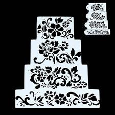 4x Stencil Elegant Spray Flower Fondant Wedding Cake Mold Mould Decorating Tools