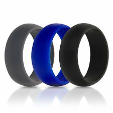 Rubber Wedding Ring Size 9 BLUE Flexible Mens Silicone Wedding Band