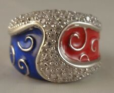 N 1/2  Ring [ 925 Sterling Silver - Clear Cubic Zircon ] Red / Blue & Spirals