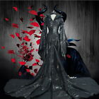 Movie Maleficent Angelina Jolie Costume Halloween Cosplay Outfit Fancy Dress L2