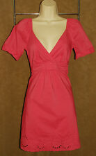 BCBG - Pink - Stretchy Soft COTTON - Eyelet Design Plunging Neckline DRESS sz 0