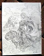 Tim Vigil Original Art C051  Girl and Tiger Faust