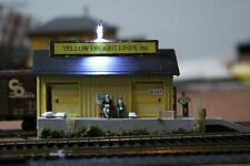HO Gauge Railroad Lighted Building, Diorama, Yellow Freight Building Inc.