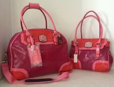 Guess 2 PC Set Weekender Carry on Bag & Shoulder Bag Signature Guess Pink NWT