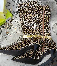 New JEGO Leopard Print Zipped Mid Calf Length Fashion Boots Size 5 Gold Bow