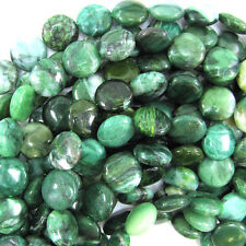 "14mm green african jade coin beads 15.5"" strand"