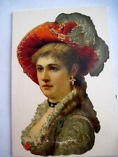 Gorgeous Victorian Die-Cut of Woman w/ Red Hat & Gold Accents *