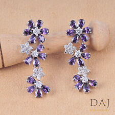 925 Sterling Silver Swarovski Purple Stunning Dangle Earring Set 1126 CH 24