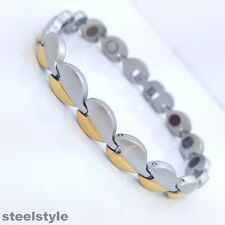 LADIE'S ELEGANT  BIO MAGNETIC BRACELET STAINLESS STEEL  5 in 1 SILVER/GOLD  W515