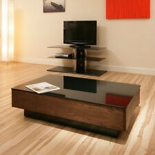 Modern Elm Wooden Coffee Table / Tables Black Glass Top Beautiful 868A