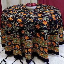 Unique Handmade 100% Cotton French Floral Tablecloth 90 Inch Round Black & Amber