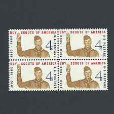 55 YEAR OLD BOY SCOUTS OF AMERICA STAMPS BLOCK OF 4 !