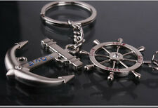 Striking Love Couple Anchor Rudder Rhinestone Alloy Key Chain Good Ring Keychain