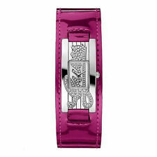 Guess Watch Ladies W80055L6 Hot Pink Patent Leather Cuff Strap Silver Logo Face