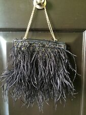 Chanel Black Ostrich Feathers-Beaded CC Evening Bag-100% Authentic