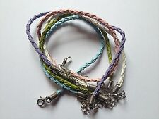 5 Faux Leather Braided Bracelet Cords Mix colours - white/blue/green/pink/lilac