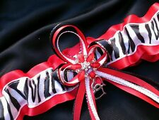 Bridal Lingerie RED ZEBRA PRINT Glitter GARTER Belt Wedding Prom Formal Bride