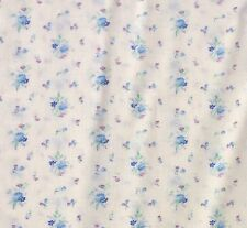 Vintage Cotton Blend Fabric Small Floral Blue Cream Craft Baby Doll Sewing NOS