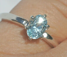 .49ct Genuine Aquamarine 6x4mm Oval .925 Sterling Silver Ring Size 5