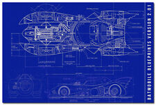 Blueprint - Batman 1989 Batmobile Art Silk Poster