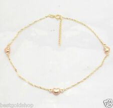Adjustable Singapore Chain Heart Ankle Bracelet Anklet w/ 14K Rose Yellow Gold